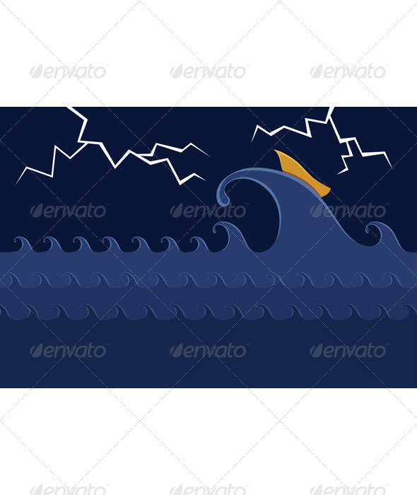 Little Boat in the Stormy Sea - Miscellaneous Conceptual