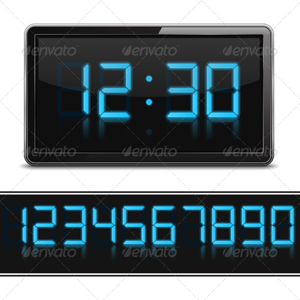 Digital Clock - Objects Vectors