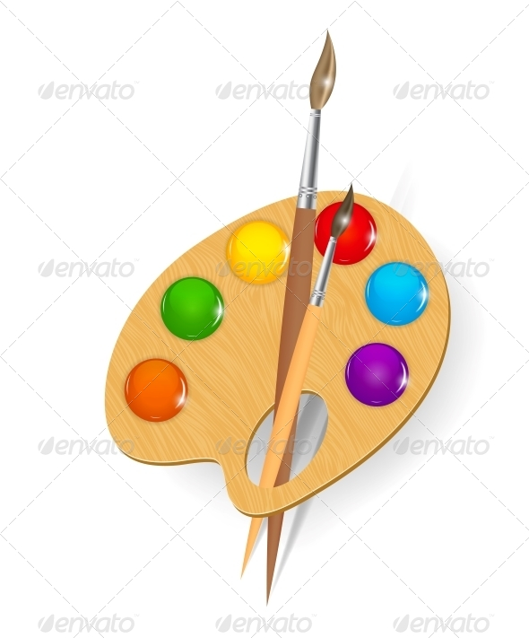 Wooden Art Palette with Paints and Brushes - Web Technology