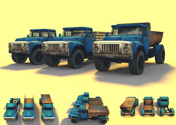 Low Poly GAZ-53 Game Model - 3DOcean Item for Sale