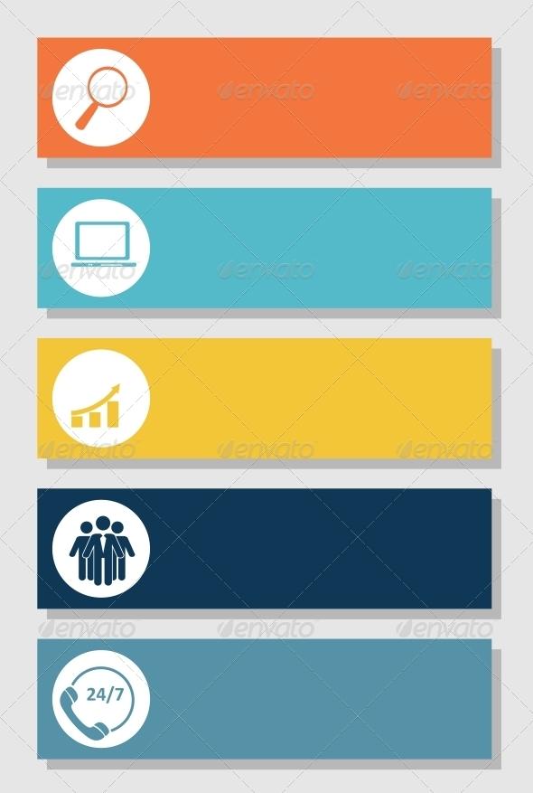 Infographics Design Flat Elements - Web Technology