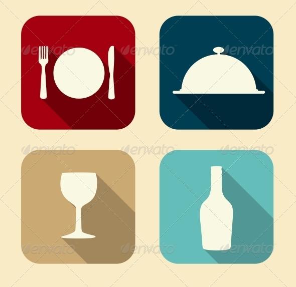 Modern Flat Food Icon Set - Web Technology