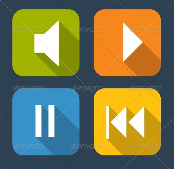 Modern Flat Music Icon Set - Web Technology