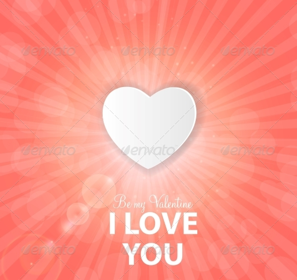 Happy Valentines Day Card with Heart. Vector - Web Technology