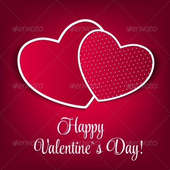 Happy Valentines Day Card with Heart. Vector - Valentines Seasons/Holidays