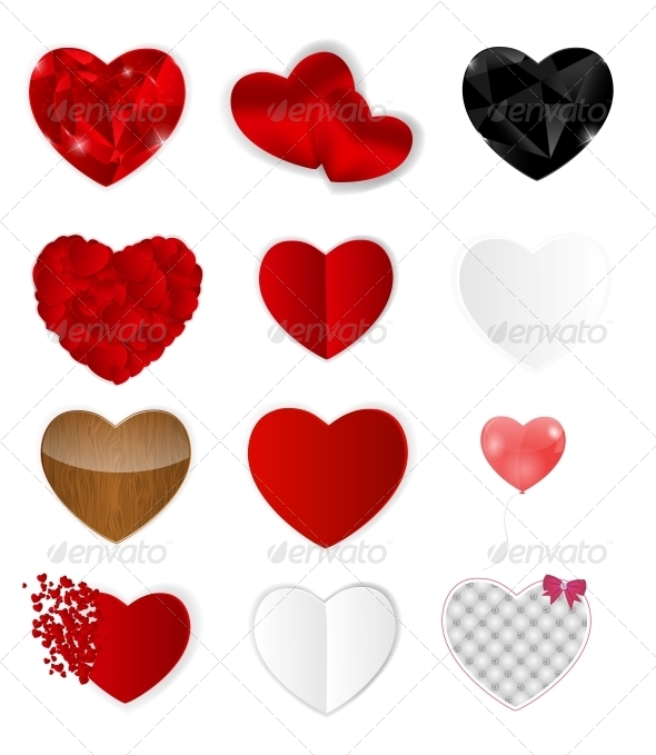 Set of Hearts - Vector Illustration - Web Technology