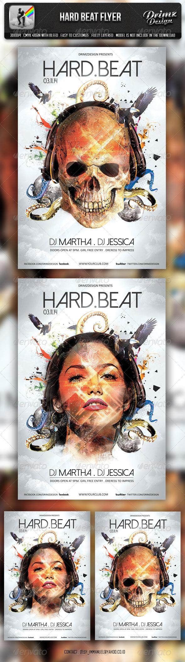 Hard Beat Flyer - Events Flyers