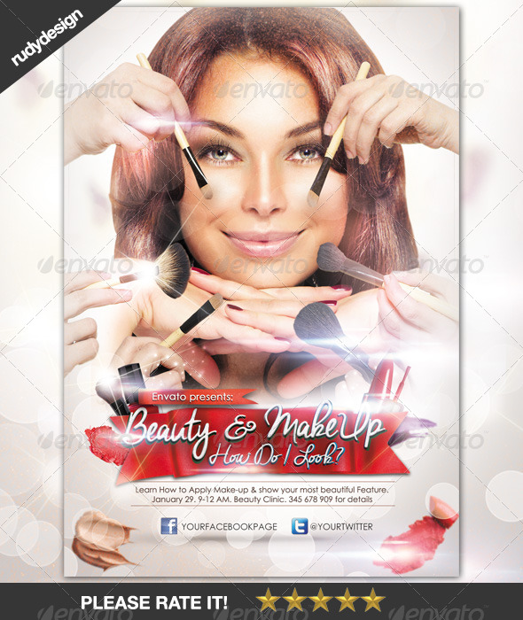 Beauty Make-Up Cosmetic Flyer Design - Miscellaneous Events