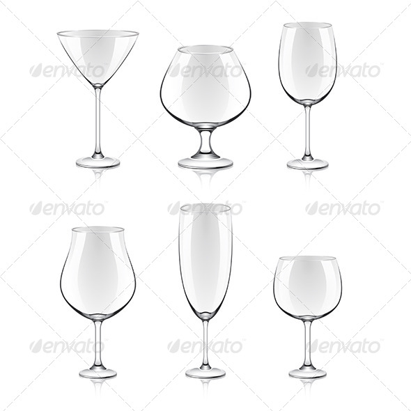 Transparent Glasses for Wine and Cocktails - Man-made Objects Objects
