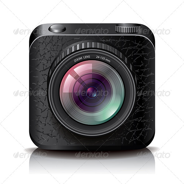 Black Photo Camera Icon for Apps  - Technology Icons