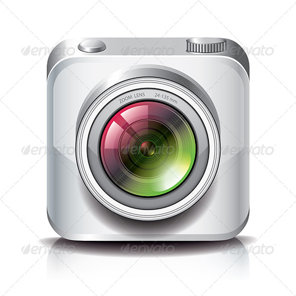 White Photo Camera Icon for Apps  - Technology Icons