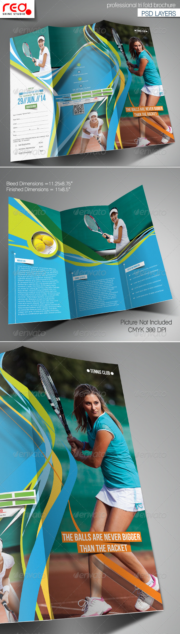 Tennis Club Trifold Brochure Template - Brochures Print Templates