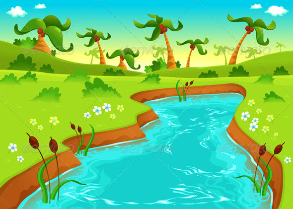 Jungle with Pond. - Landscapes Nature