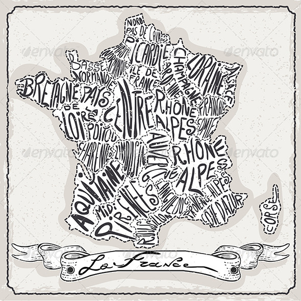 France Map on Vintage Handwriting Page - Decorative Vectors
