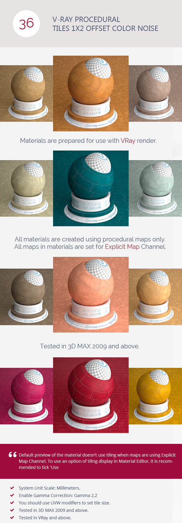 V-Ray Procedural Tiles 1x2 Offset Color Noise - 3DOcean Item for Sale