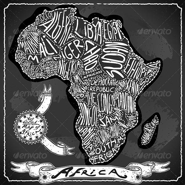 Africa Map on Vintage Handwriting BlackBoard - Decorative Vectors