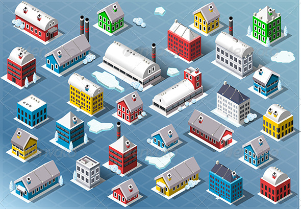 Set of Isometric Building in Winter - Buildings Objects