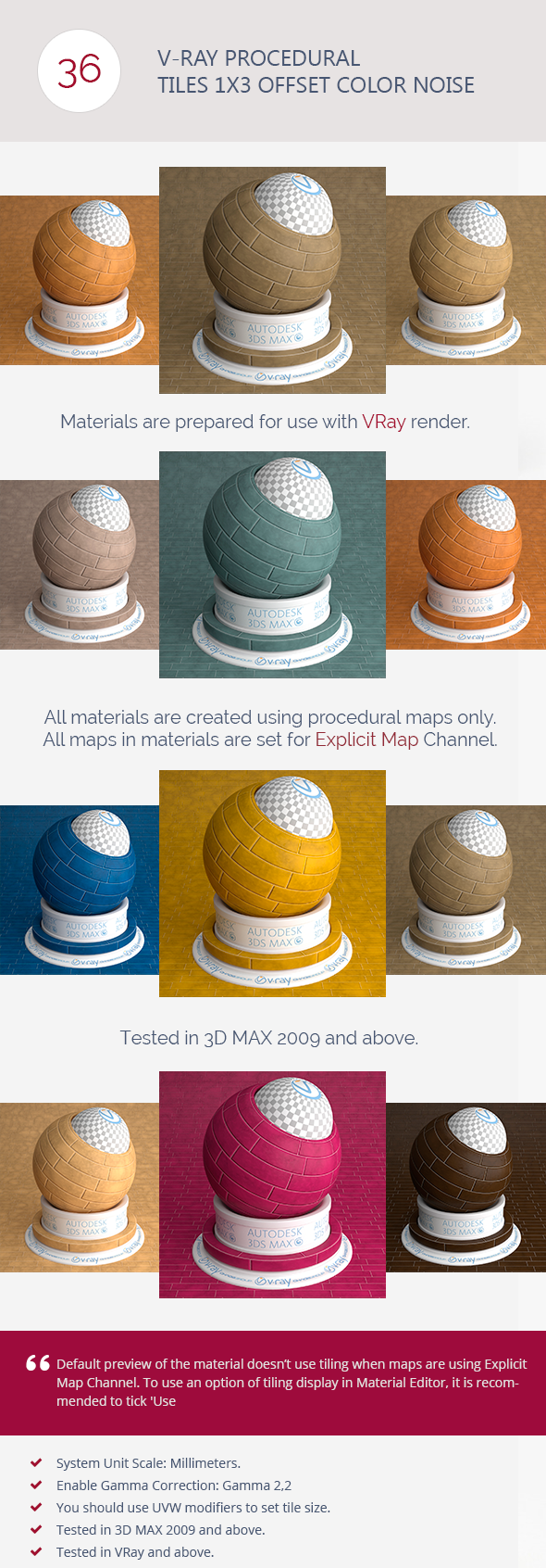 V-Ray Procedural Tiles 1x3 Offset Color Noise - 3DOcean Item for Sale