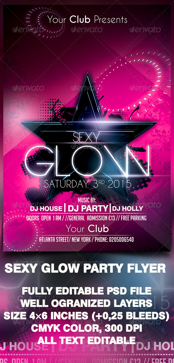 Sexy Glow Party Flyer Template - Events Flyers