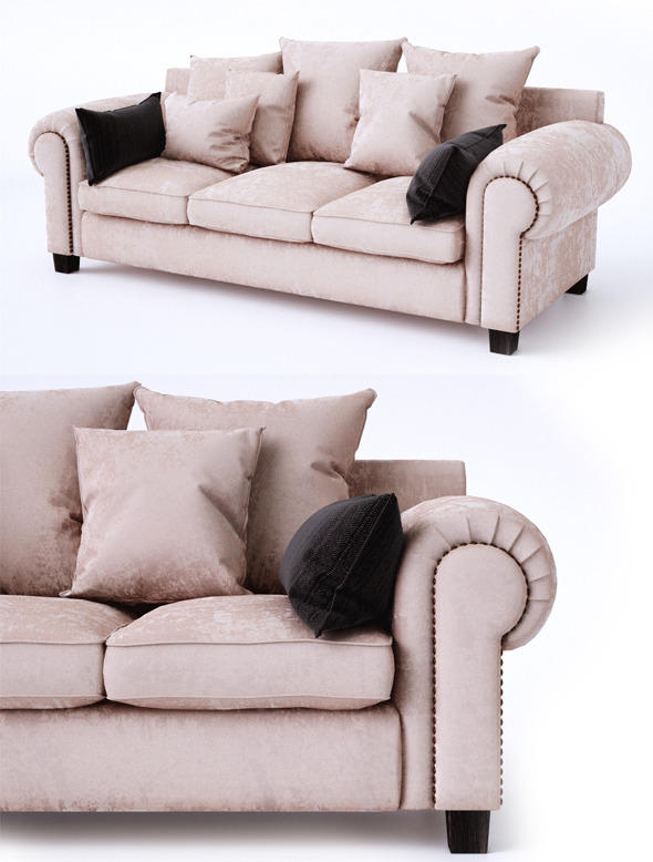 Classic sofa with pillows - 3DOcean Item for Sale