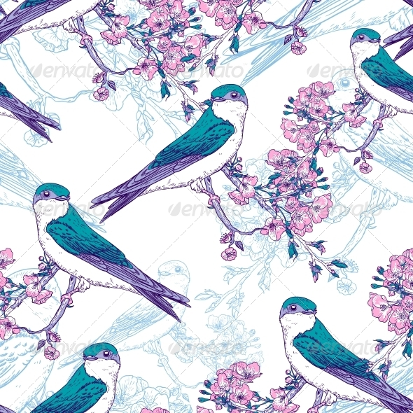 Seamless Spring Cherry Pattern with Birds - Patterns Decorative