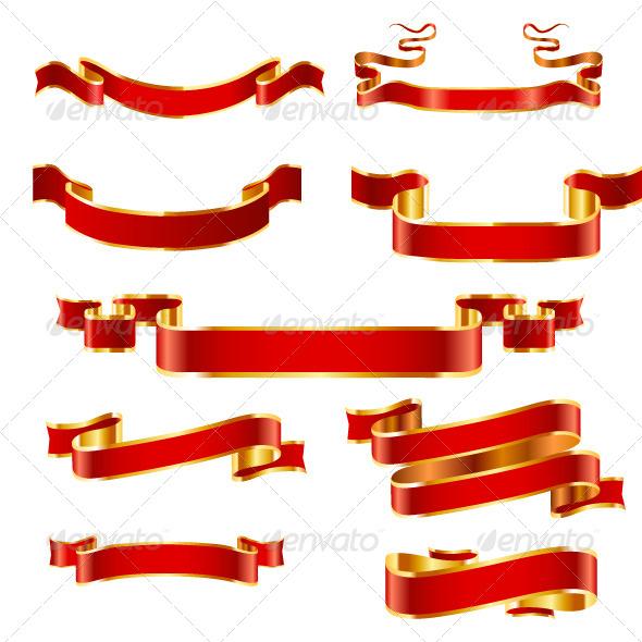Gold Banner Set - Decorative Vectors
