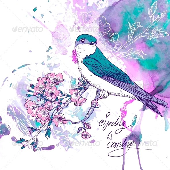 Spring Cherry Background with Birds - Patterns Decorative
