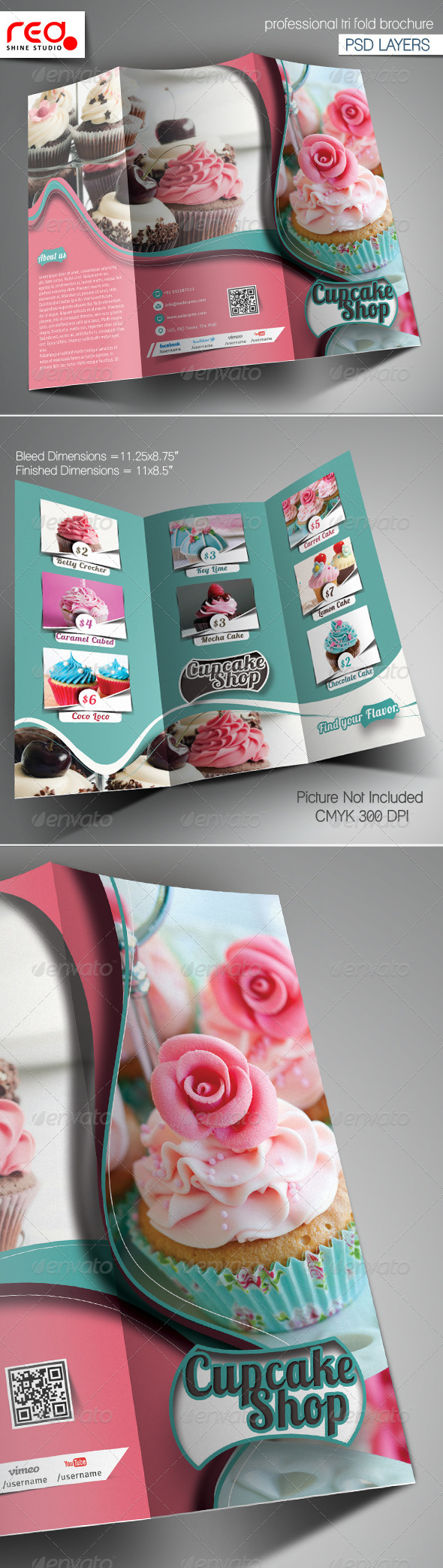 Cupcake Bakery Shop Trifold Brochure Template By Redshinestudio - Bakery brochure template free