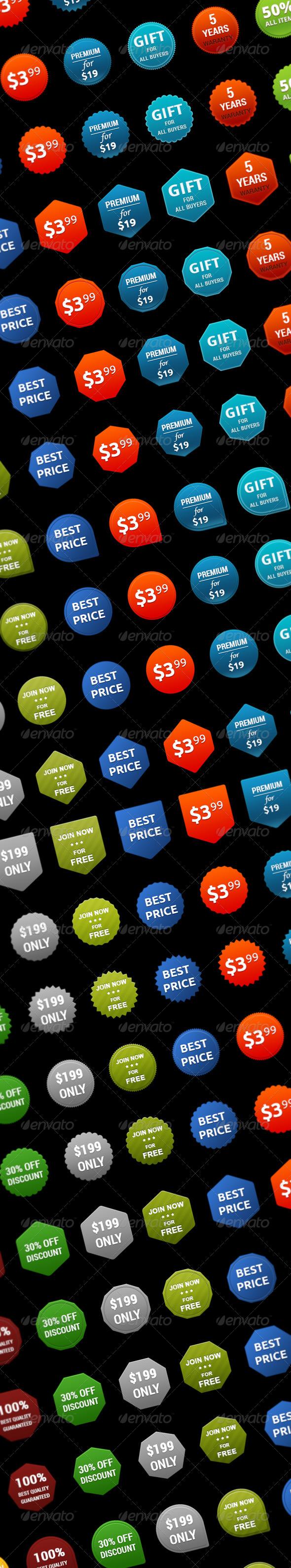 Collection set of 195 unique badges - Badges & Stickers Web Elements