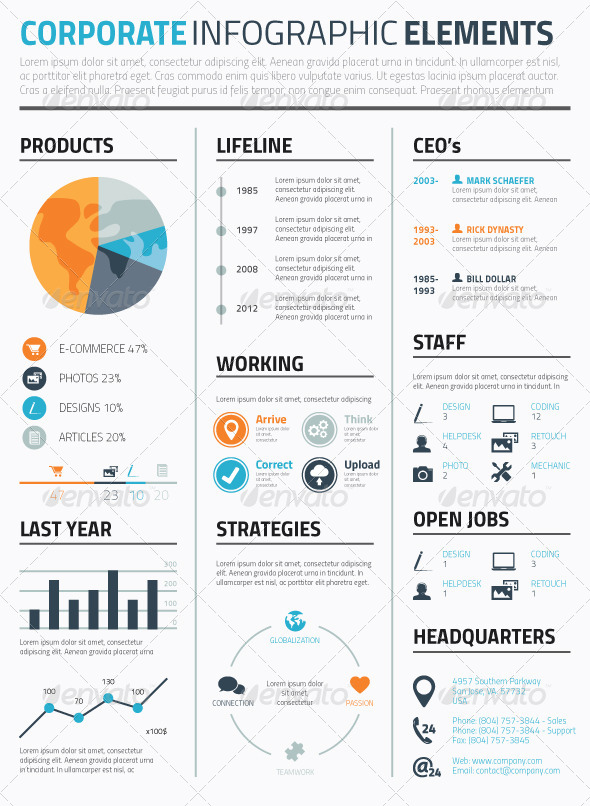 Minimal Infographic Corporate Vector Elements - Infographics