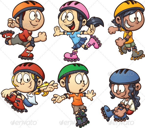 Inline Skating Kids - People Characters