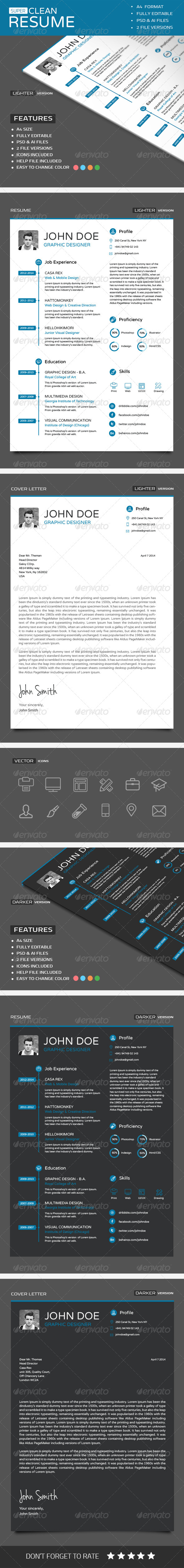 Super Clean Resume - Resumes Stationery