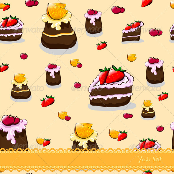 Seamless Cartoon Pattern with Cakes and Fruit - Patterns Decorative