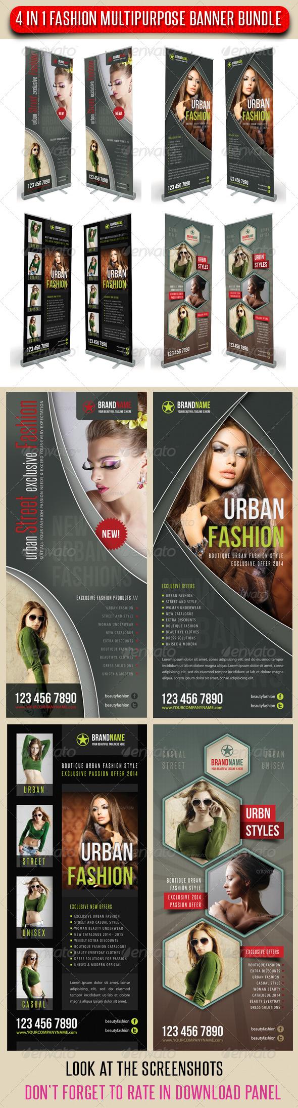 4 in 1 Fashion Multipurpose Banner Bundle 07 - Signage Print Templates