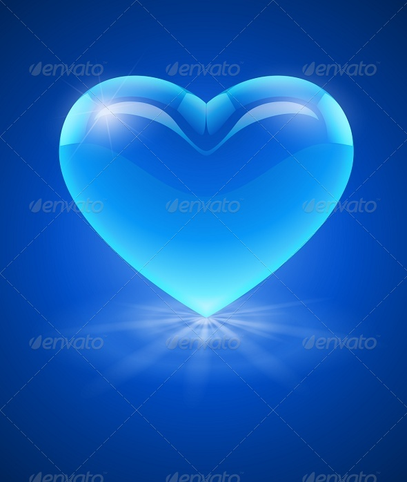 Blue Glass Heart - Valentines Seasons/Holidays