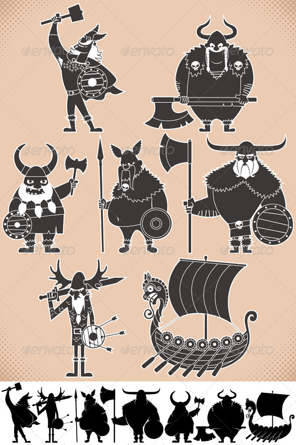 Viking Silhouettes - People Characters