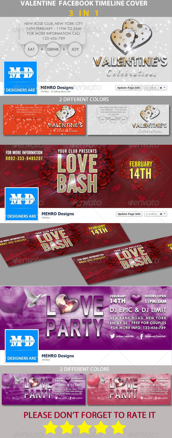 Bundle # Valentine FB Timeline Cover - Facebook Timeline Covers Social Media