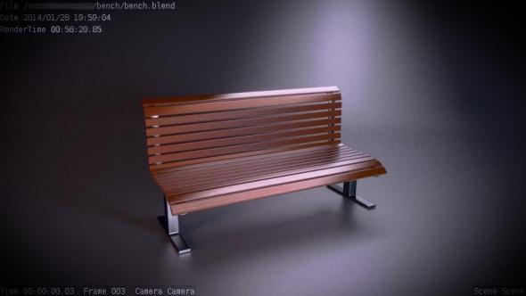 public wooden bench - 3DOcean Item for Sale