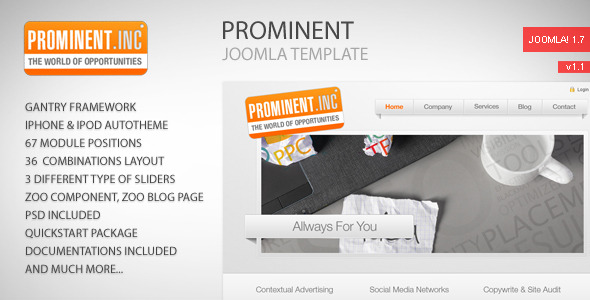 Free Download Prominent - Joomla Template Nulled Latest Version