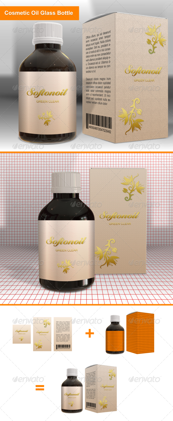 Cosmetic Oil Glass Bottle - Packaging Product Mock-Ups
