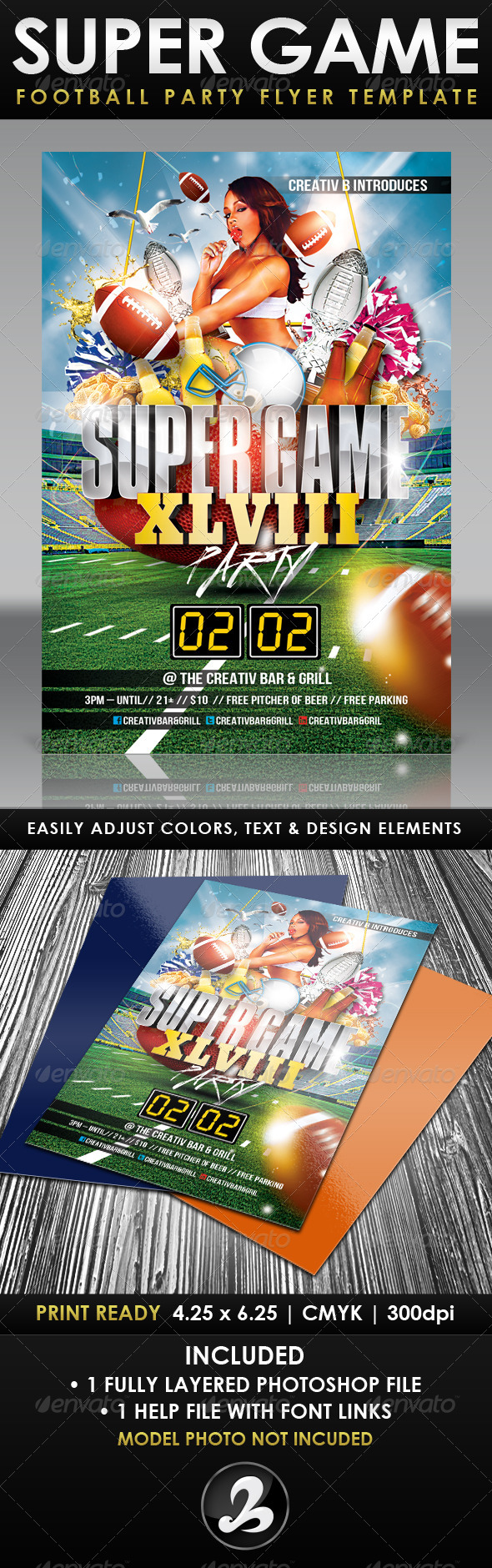 Super Game Football Party Flyer Template - UPDATED - Sports Events