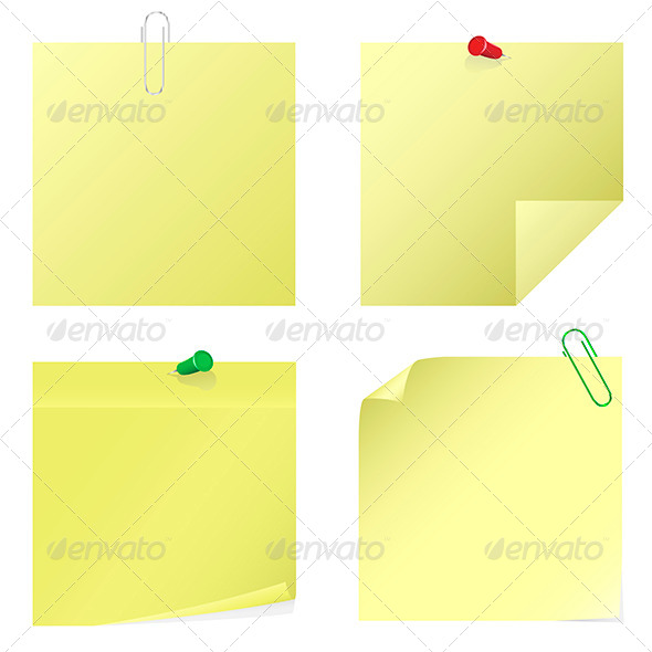 Yellow Notice Stickers - Vectors
