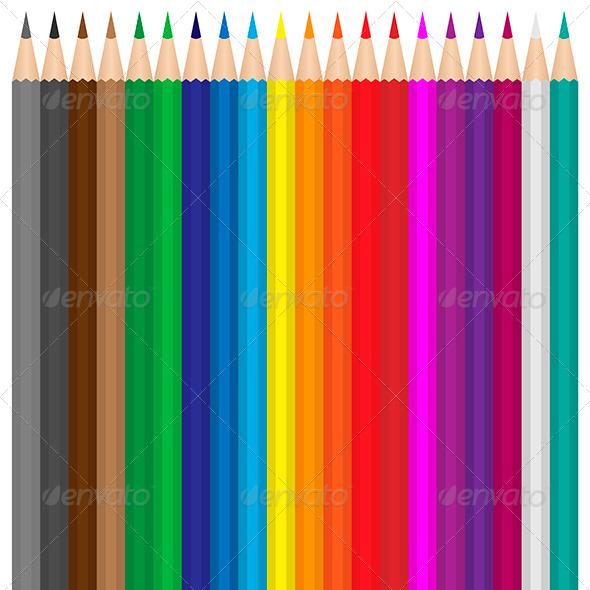 Colored Pencils Set - Miscellaneous Vectors