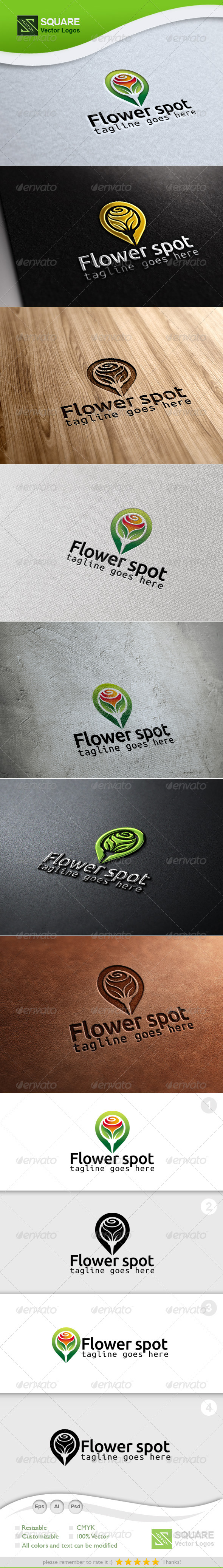 Flower, Locator Vector Logo Template - Nature Logo Templates