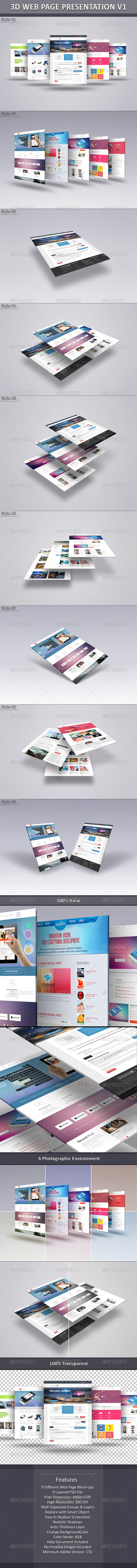 3D Web Page Presentation V1 - Website Displays