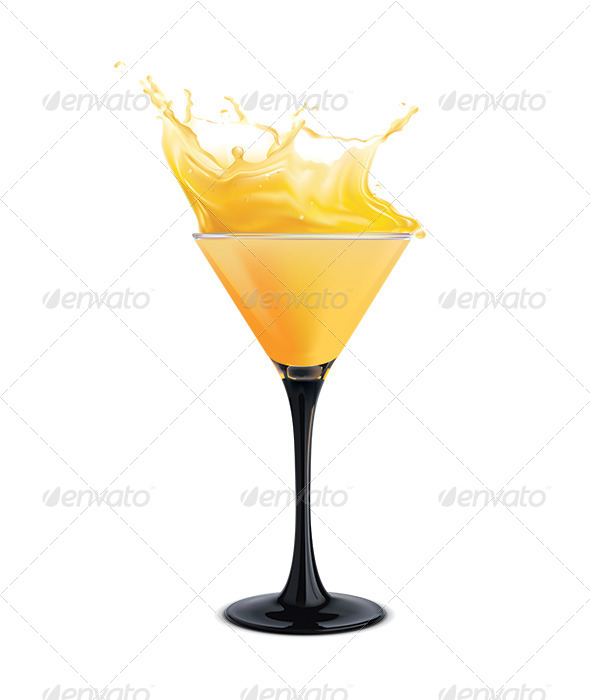 Orange Cocktail with Splashes - Food Objects