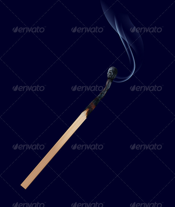 Burned Match Stick on Dark - Man-made Objects Objects