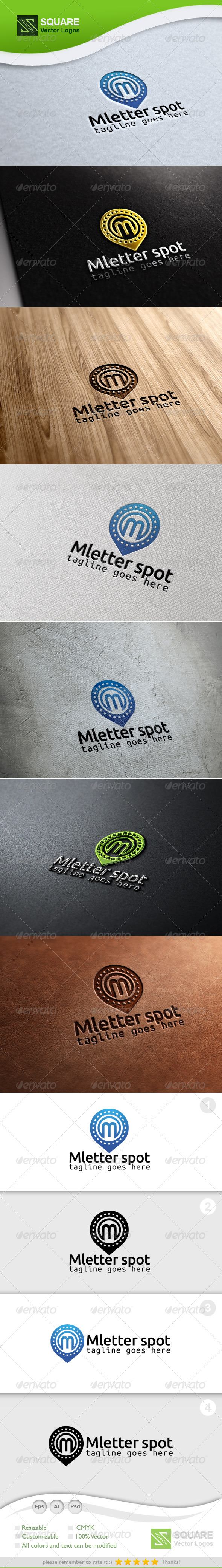 M, Locator Vector Logo Template - Letters Logo Templates