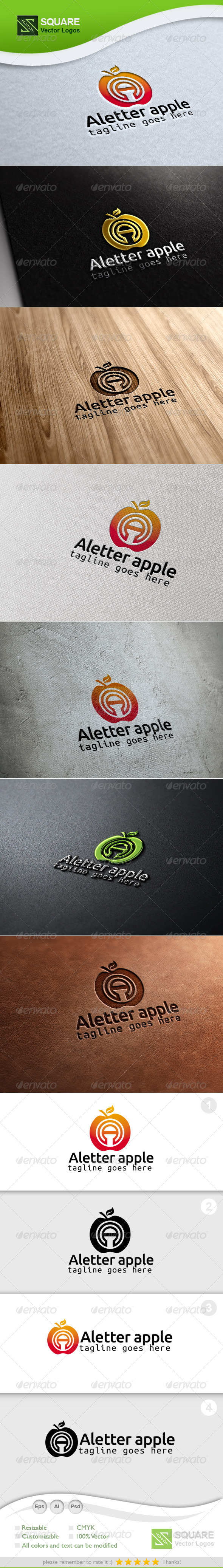 A,  Apple Vector Logo Template - Letters Logo Templates