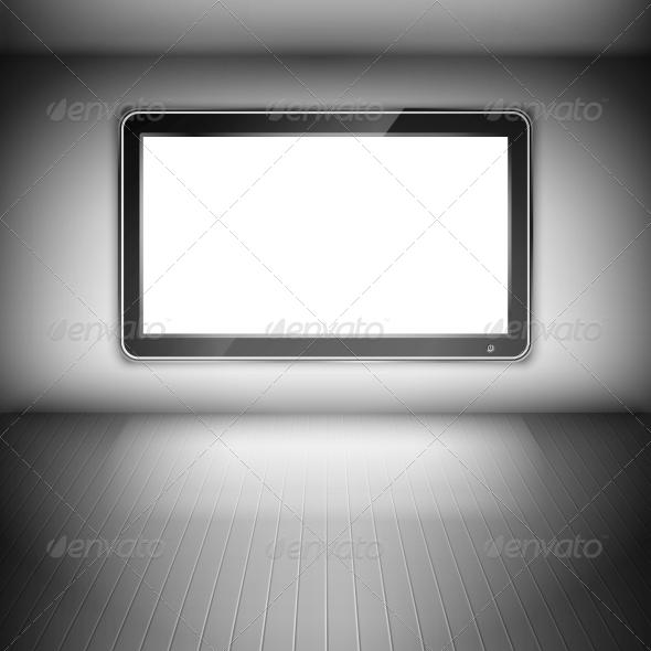 TV Set on the Wall in Dark Room - Media Technology